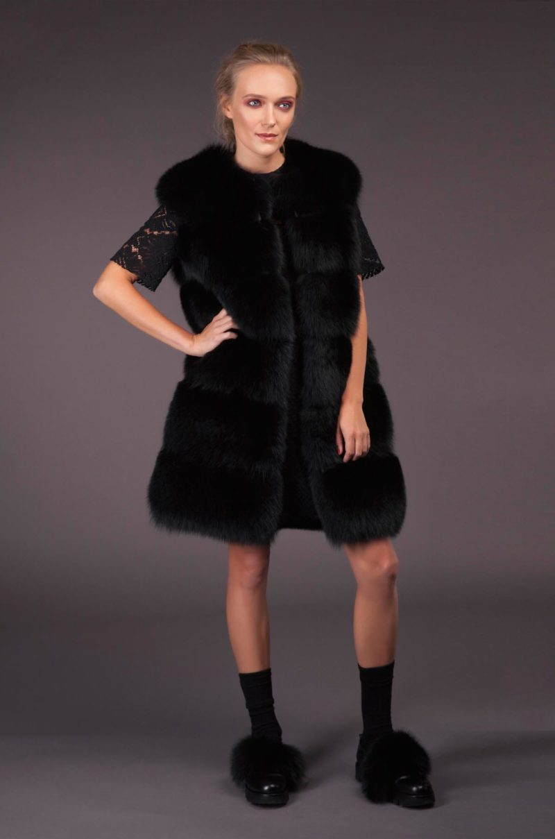 black fox fur vest with leather inserts