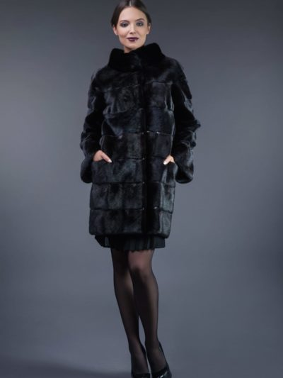 black horizontal mink fur coat with leather inserts