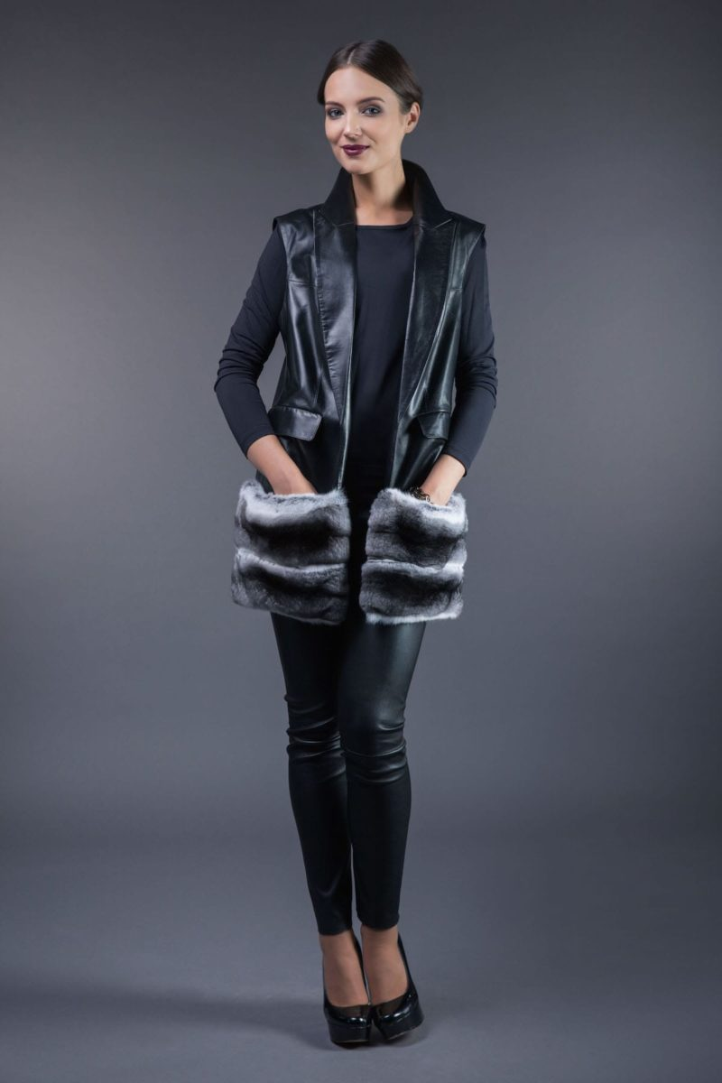 black leather vest with chinchilla fur pocket decoration