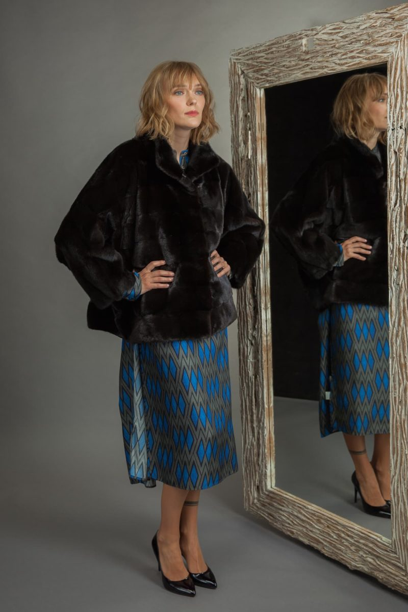 black mink fur jacket with wide sleeves