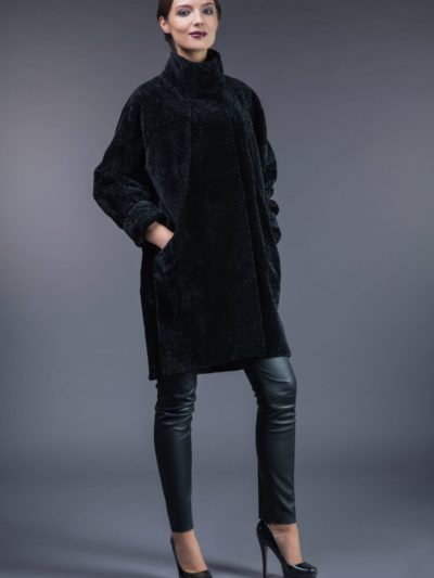 black mouton sheepskin fur coat