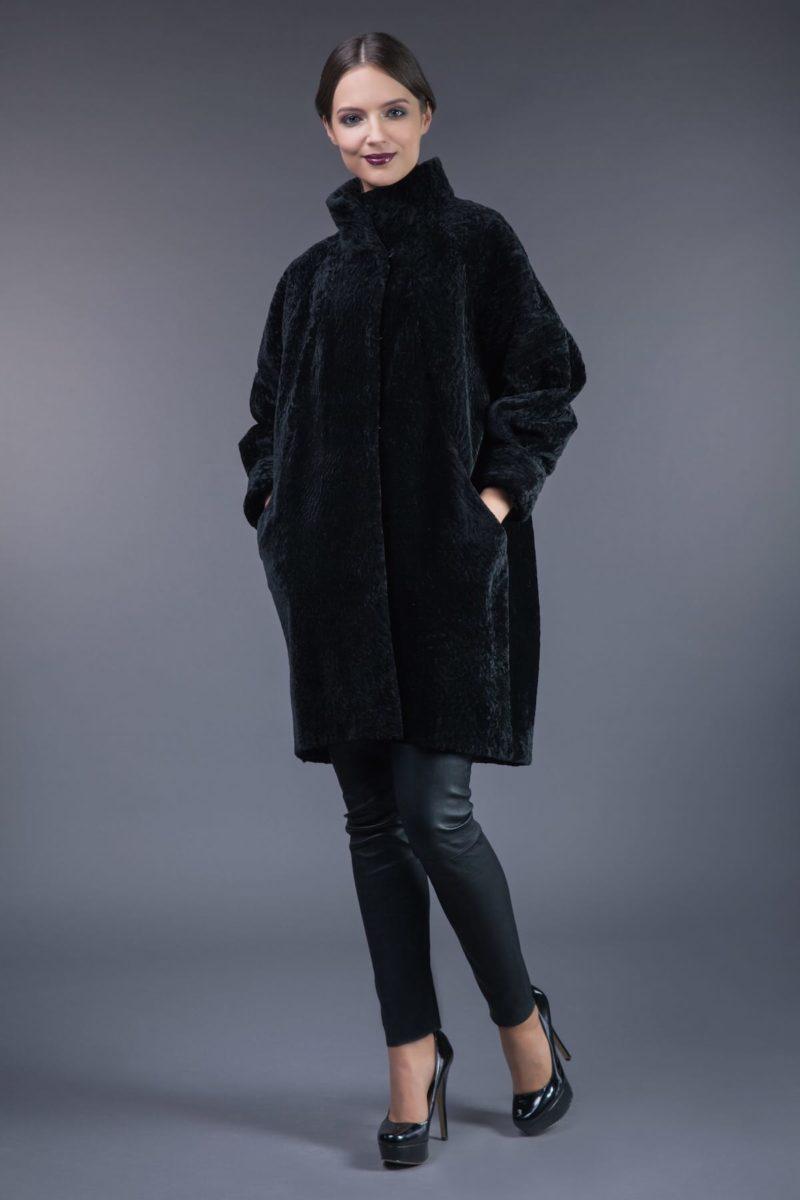 black mouton sheepskin fur coat