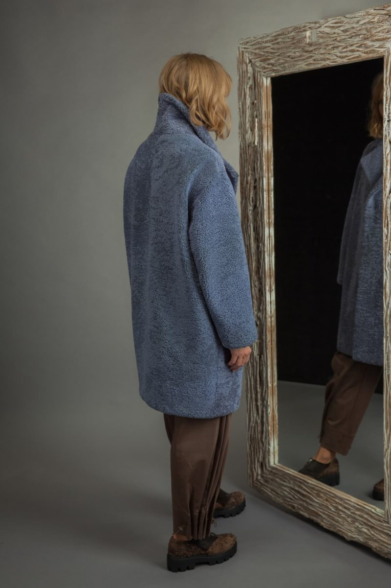 blue sheepskin fur coat with revere collar