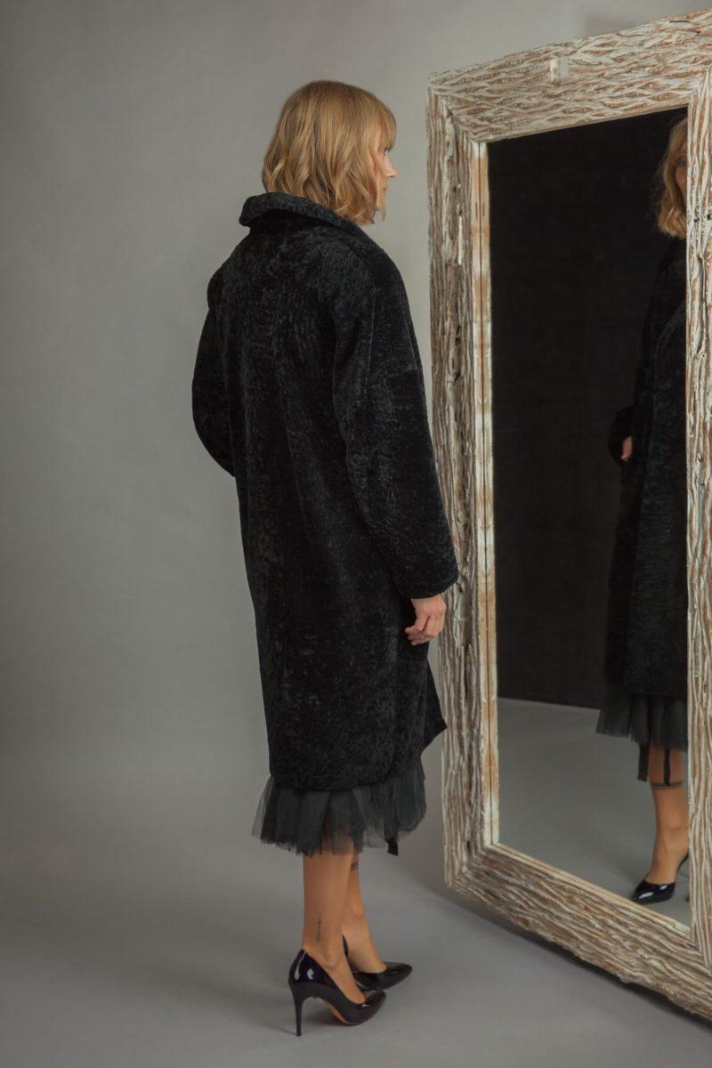 classic black sheepskin fur coat with revere collar