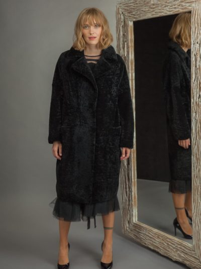 classic black sheepskin fur coat with revere collar