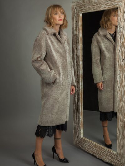classic brown sheepskin fur coat for women