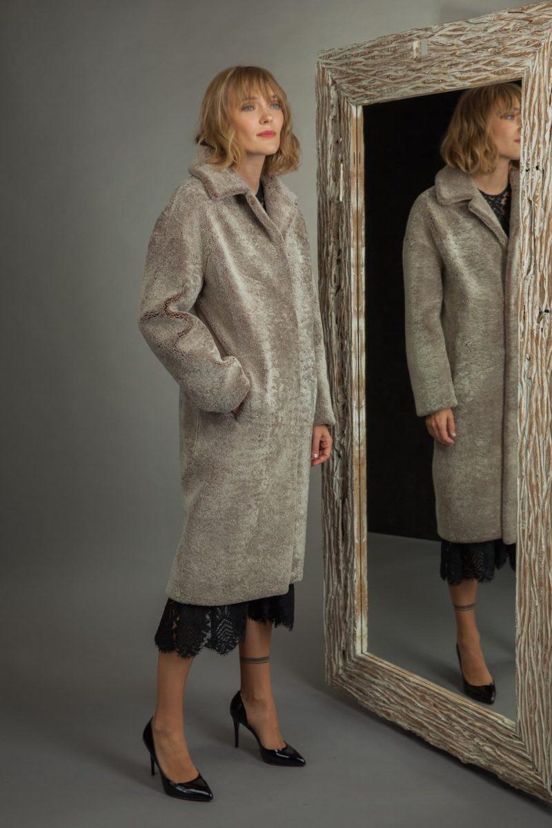 classic brown sheepskin fur coat for women