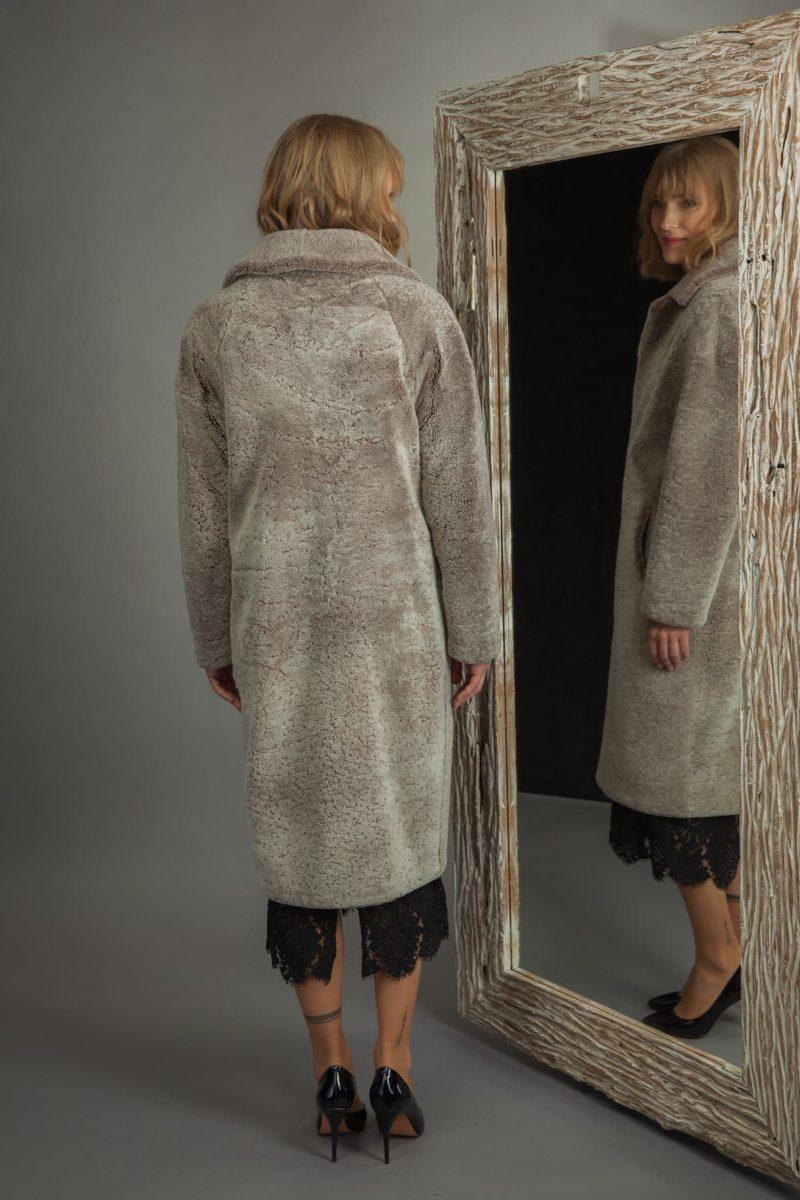 classic brown sheepskin fur coat