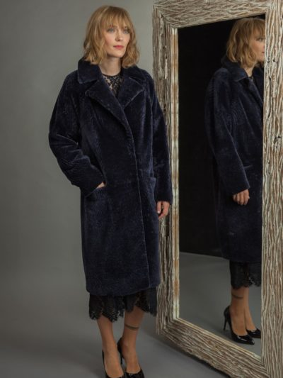 classic dark purple sheepskin fur coat for women