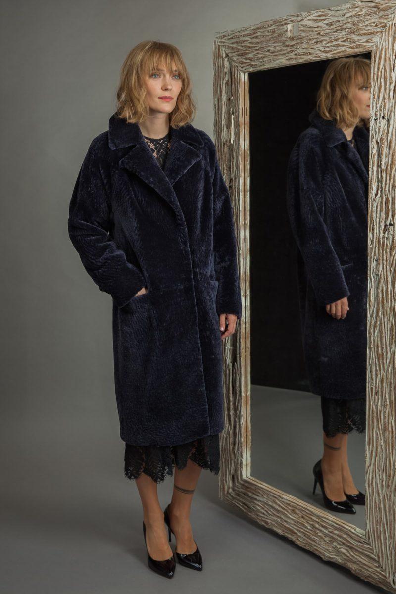 classic dark purple sheepskin fur coat for women
