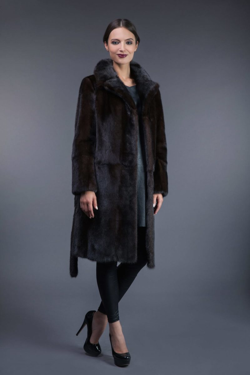 classic natural brown vertical mink fur coat with belt