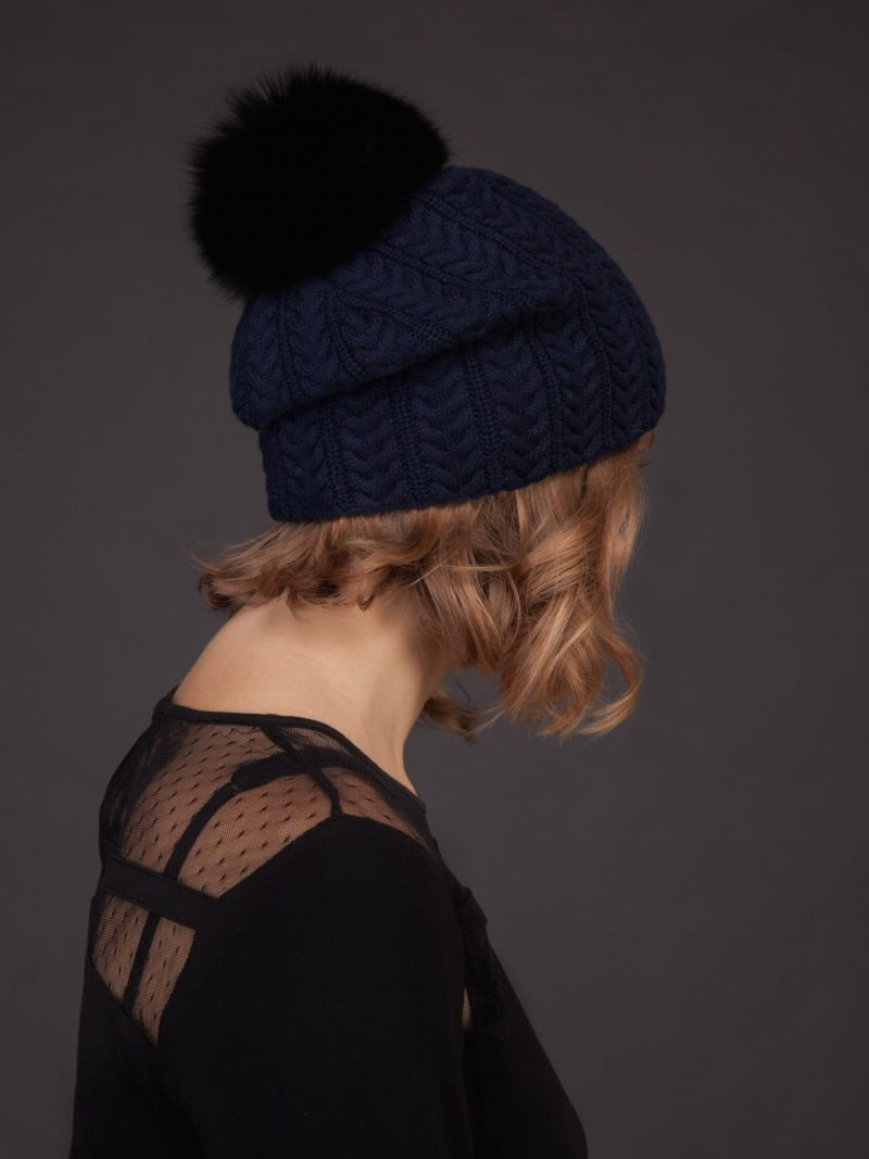 dark blue knit cashmere beanie hat with fox fur pom for women