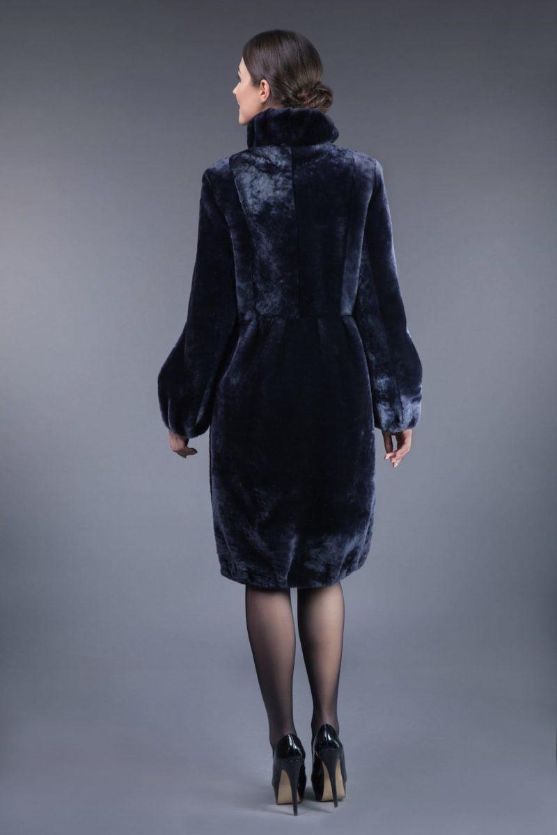 dark blue mouton fur coat with leather belt