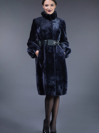 dark blue mouton fur coat with leather belt