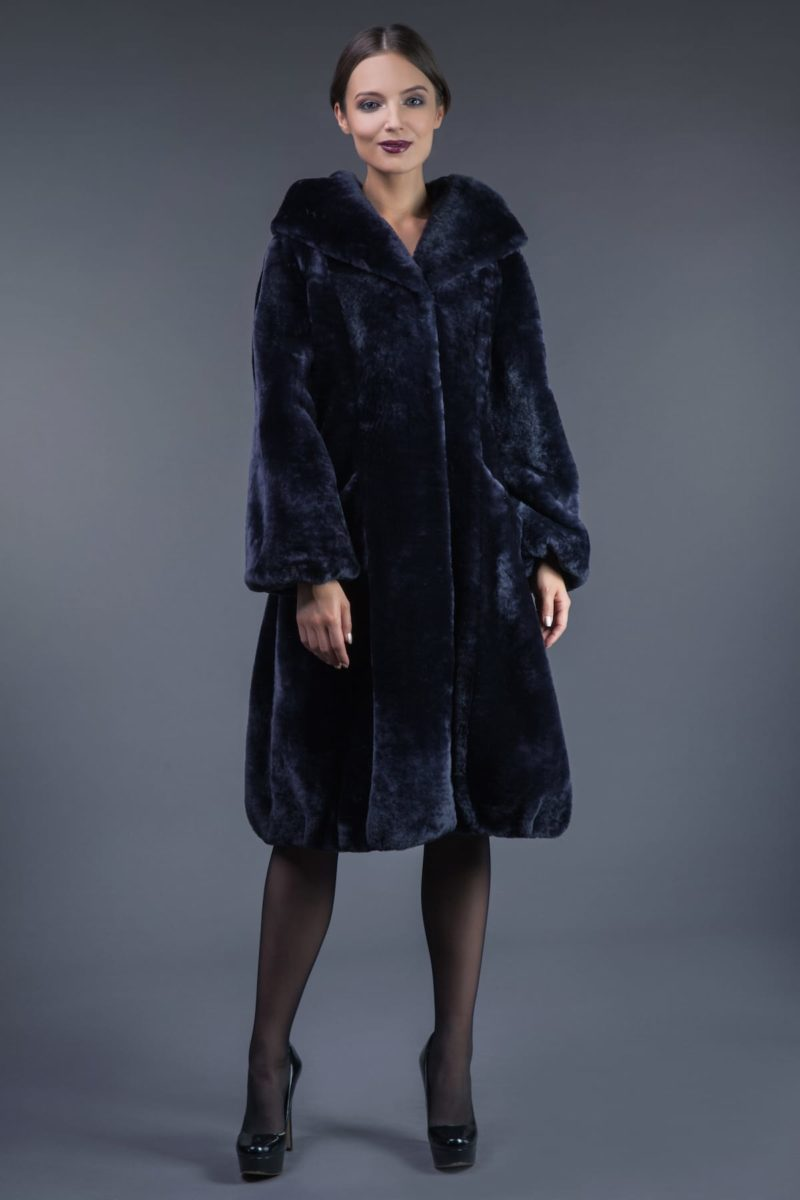 dark blue mouton fur hooded coat