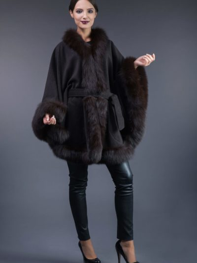 dark brown cashmere cape with brown fox fur trim