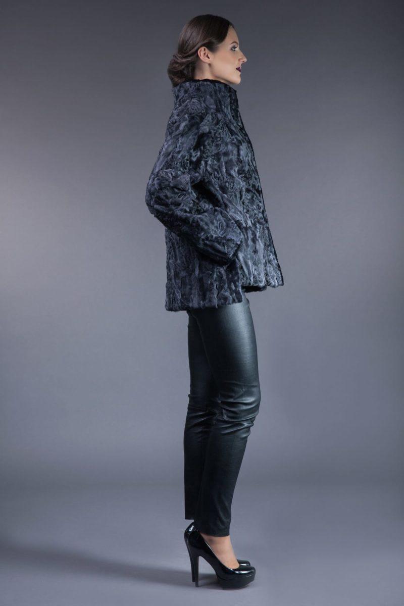 dark gray astrakhan karakul fur jacket