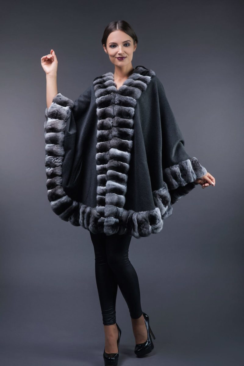 dark gray cashmere cape with natural chinchilla fur trim