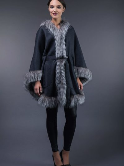 dark gray cashmere cape with silver fox fur trim