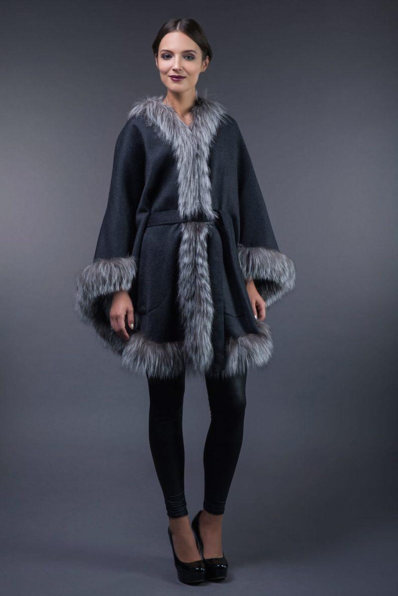 dark gray cashmere cape with silver fox fur trim