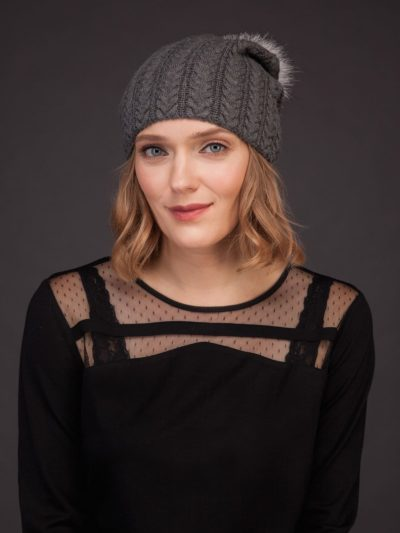dark gray knit cashmere beanie hat with fox fur pom for women