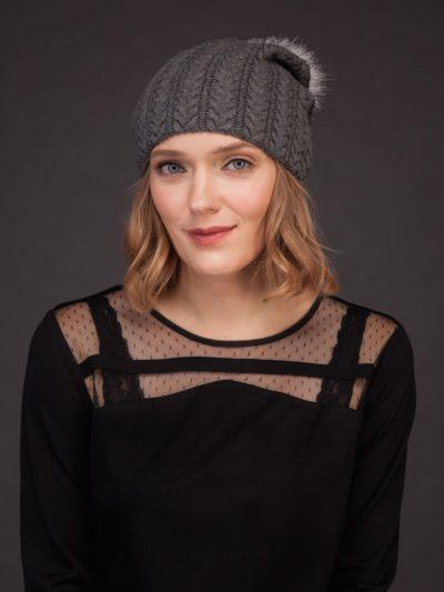 dark gray knit cashmere beanie hat with fox fur pom for women