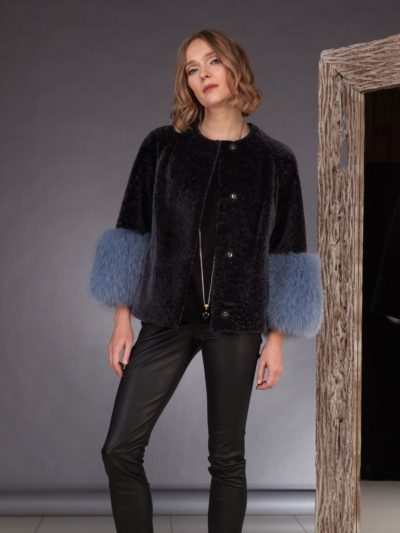 dark purple mouton sheepskin jacket with 3/4 fox fur sleeves