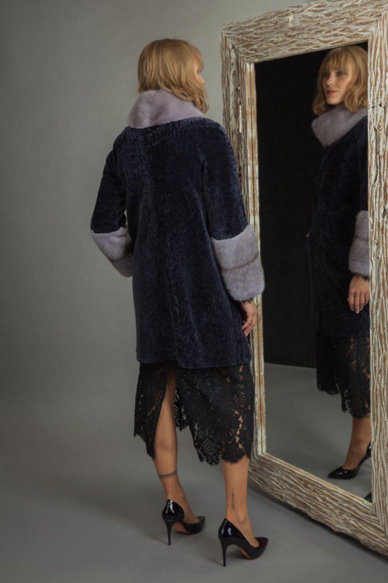 dark purple sheepskin fur coat with mink collar and sleeves