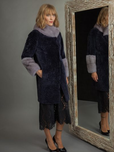 dark purple sheepskin fur coat with mink collar and sleeves