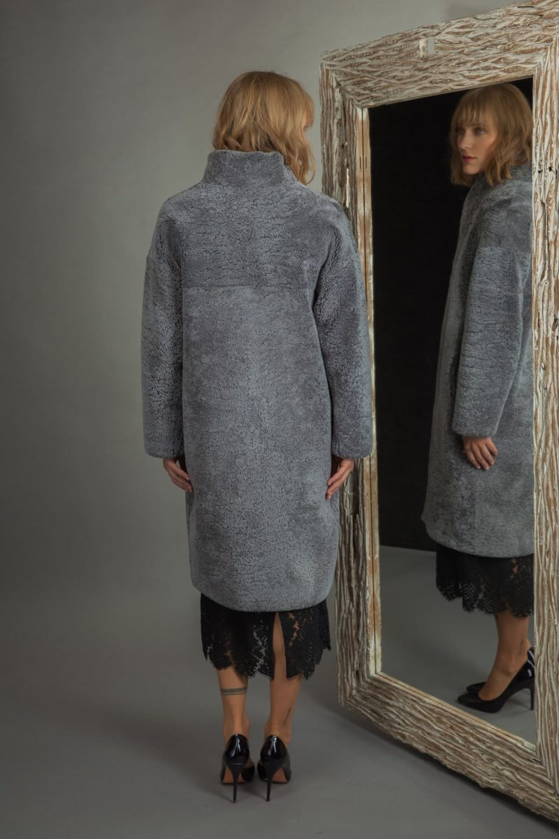 dusty blue sheepskin coat for women