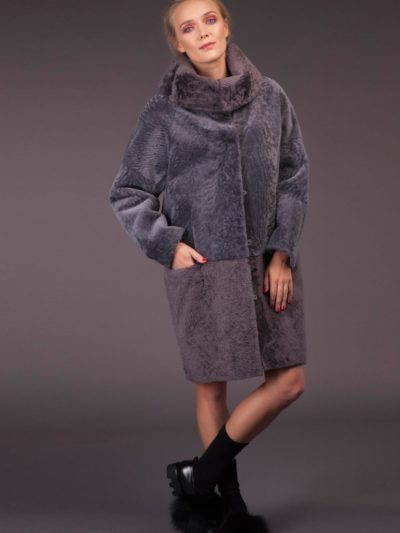 dusty purple mouton sheepskin fur coat with round double collar