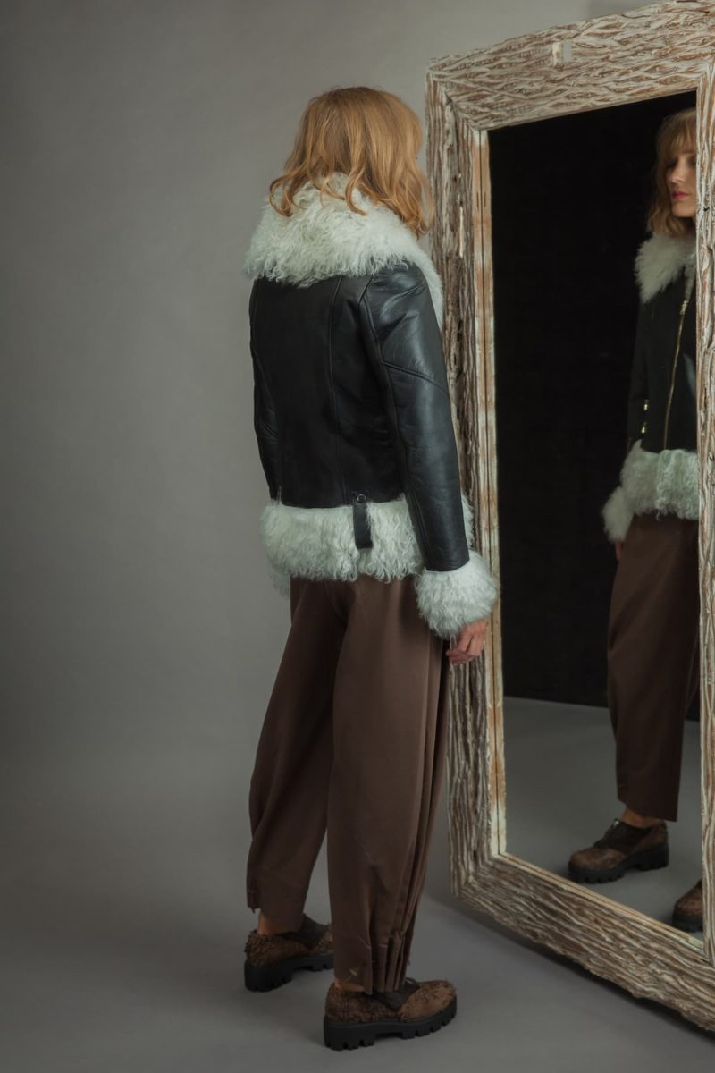 fur lined sheepskin fur jacket in white and black colors