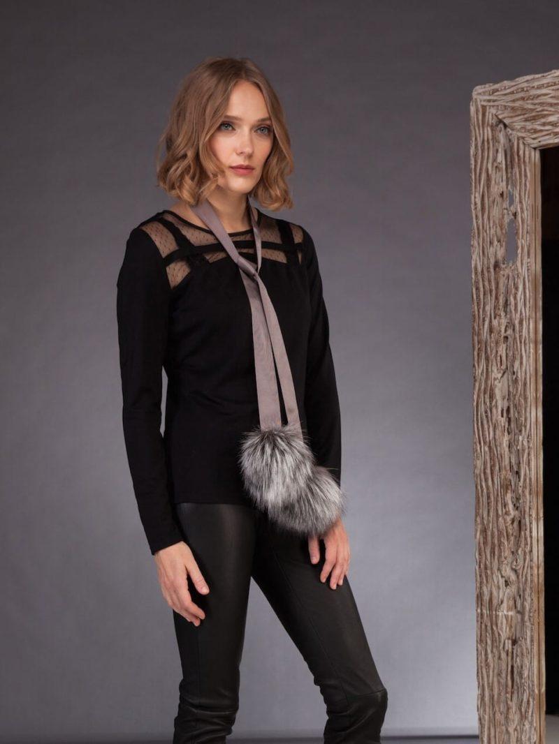 gray fox fur ribbon choker