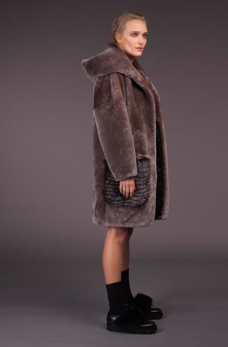 Gray Mouton Sheepskin Coat with Hood & Fox Pockets
