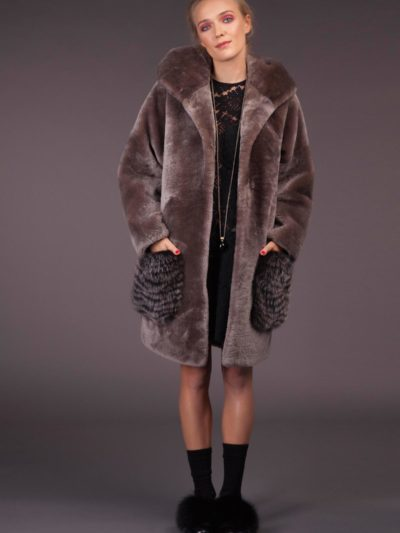 Gray Mouton Sheepskin Coat with Hood & Fox Pockets