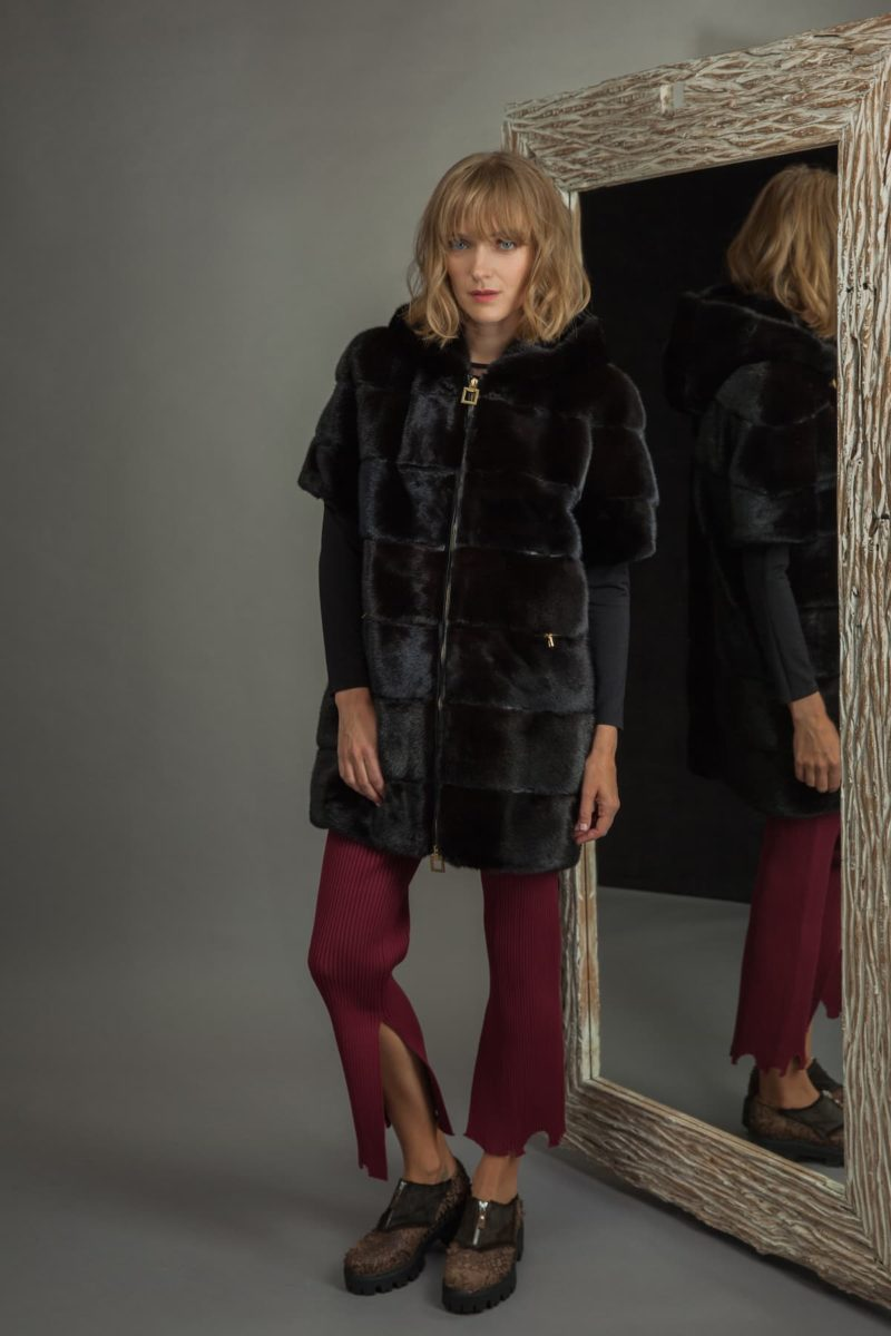 hooded black mink fur vest with detachable hood