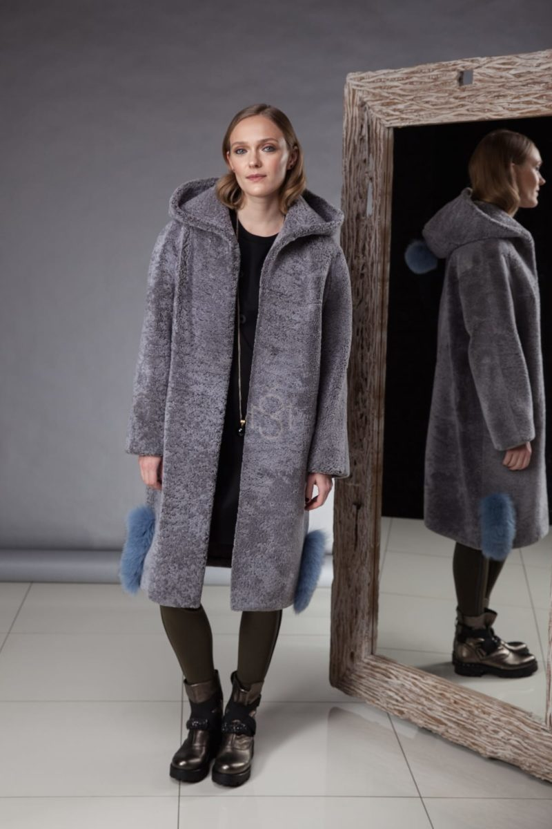 hooded blue shearling coat with fox fur decoration