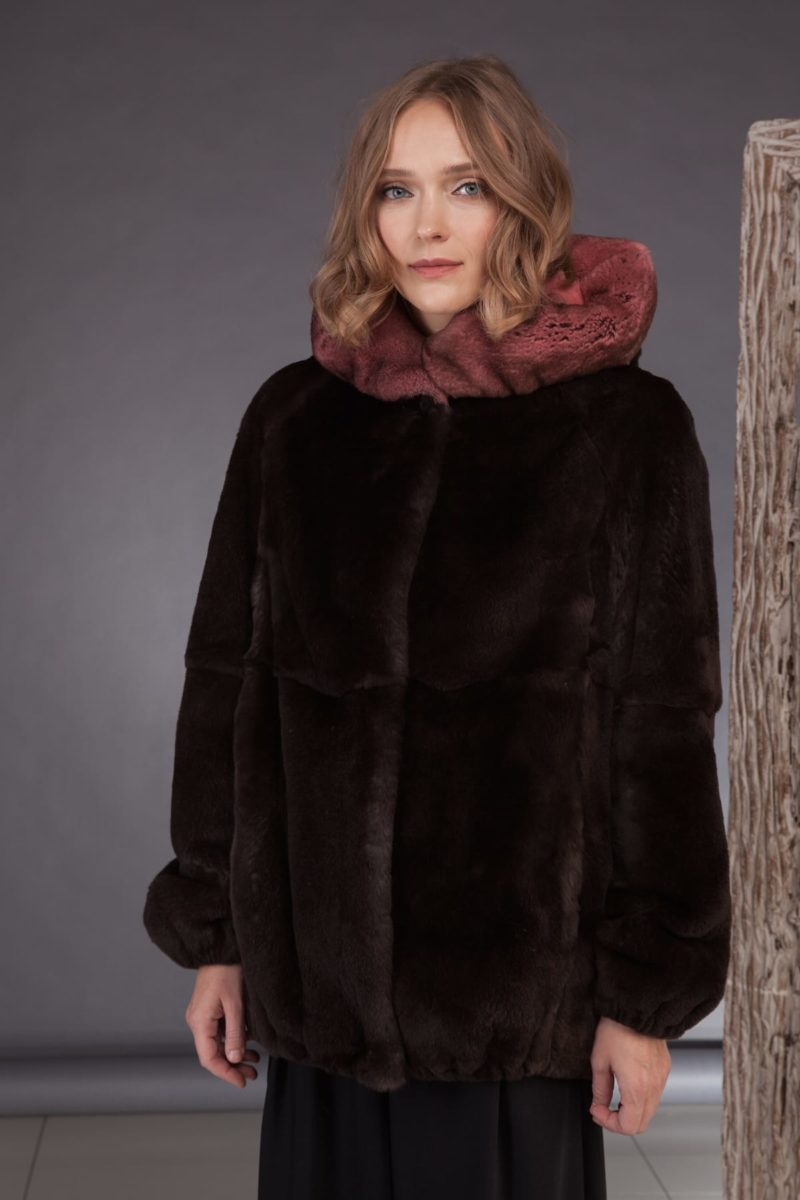 hooded brown rex rabbit fur bomber jacket