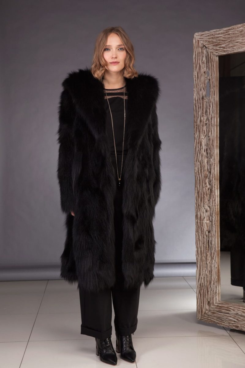 hooded long black fox fur coat