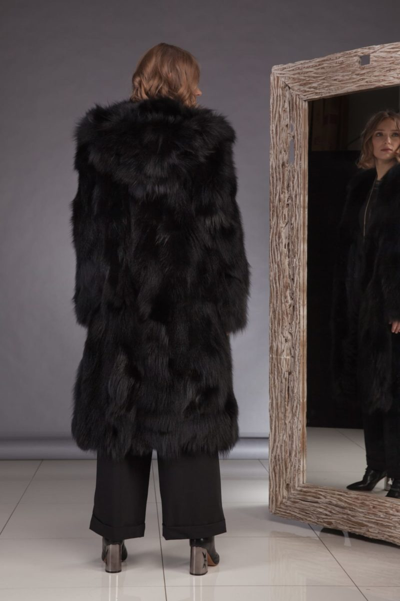 hooded long black fox fur coat