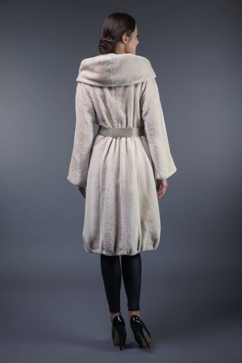 hooded mouton fur coat tied with belt