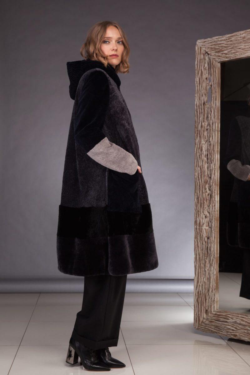 hooded multicolor mouton fur coat