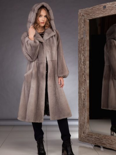 hooded natural silver mink fur coat