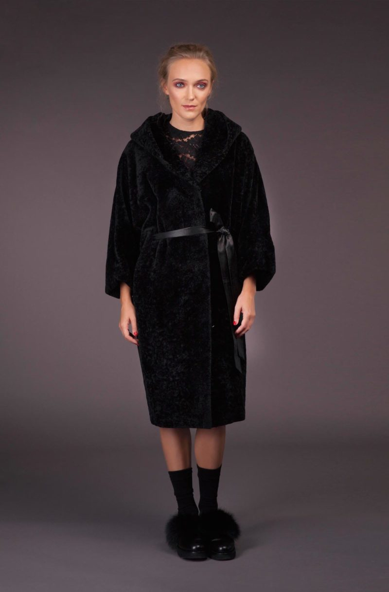 hooded oversize natural mouton fur coat with belt