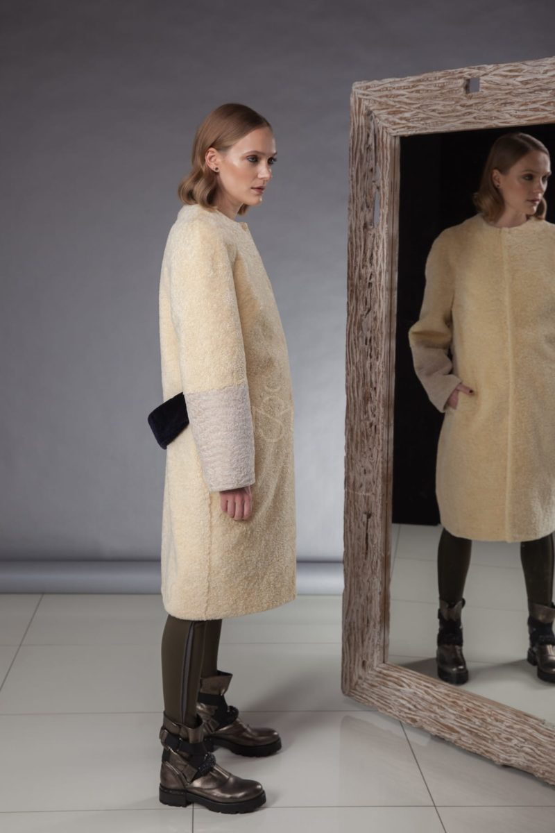lemon yellow sheepskin coat with detachable fox fur collar