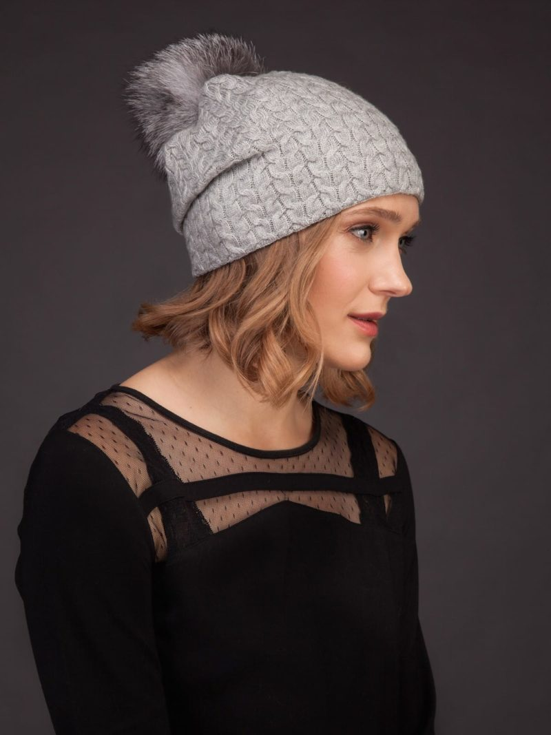 light gray knit cashmere beanie hat with fox fur pom for women