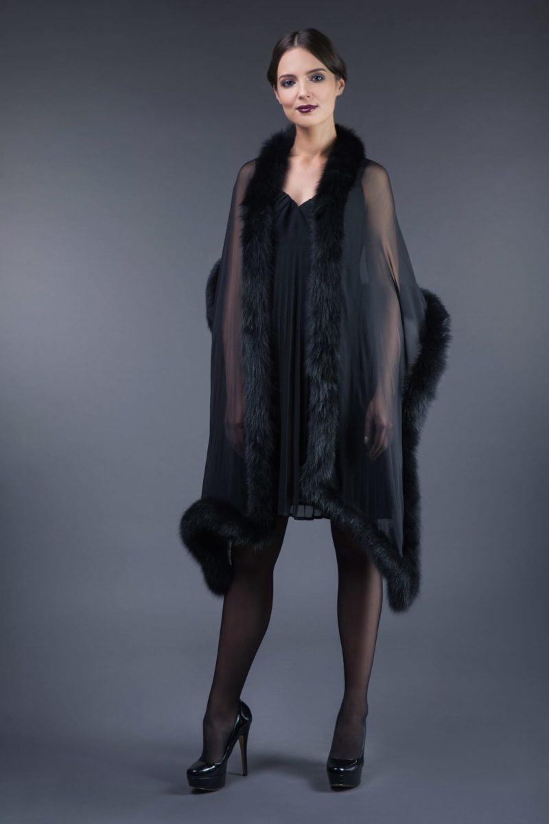 long black chiffon and fox fur scarf