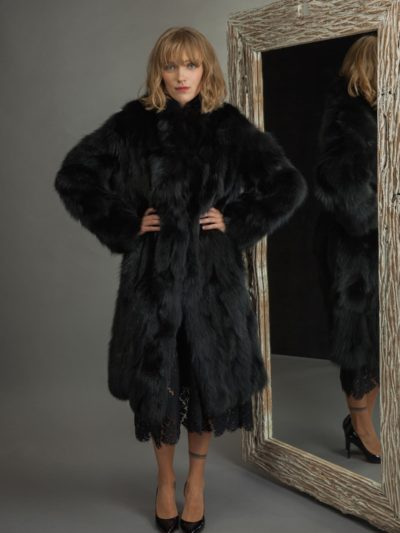 long black fox fur coat-vest with detachable sleeves