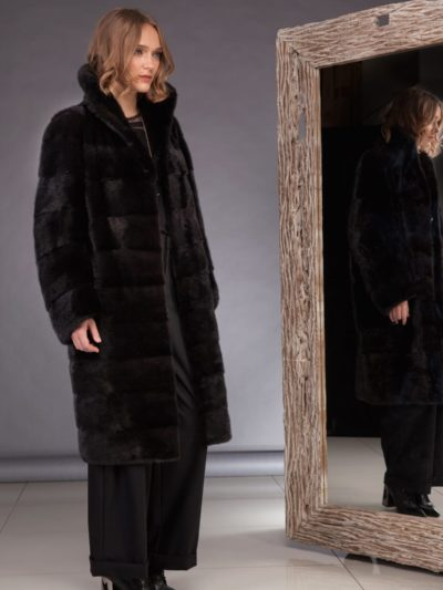 long black velvet mink fur coat with high collar