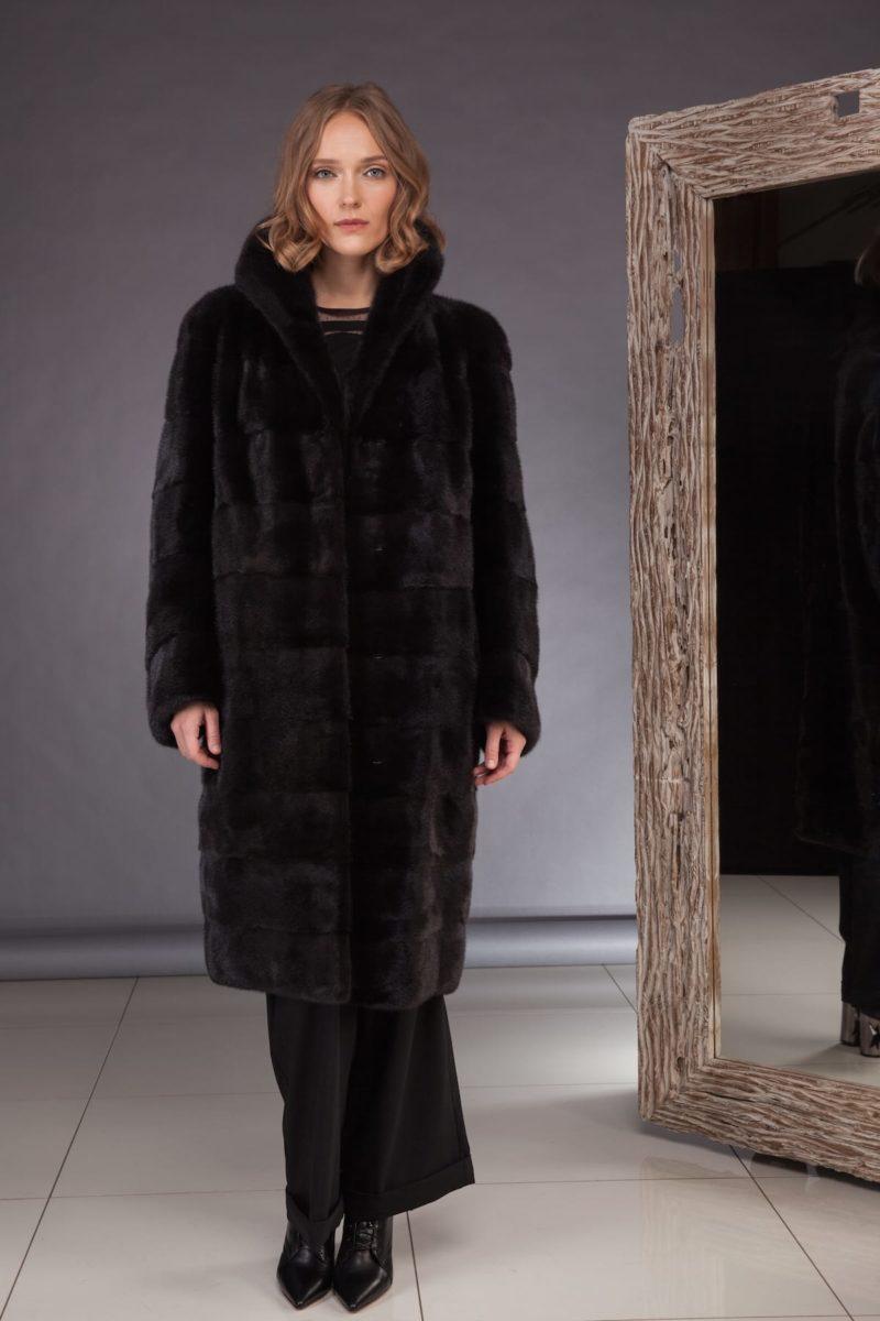 long black velvet mink fur coat with high collar